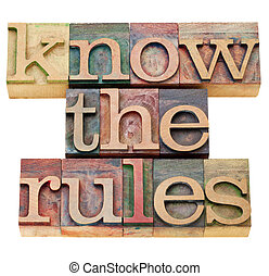 know the rules - isolated text in vintage wood letterpress...
