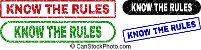 KNOW THE RULES Rectangle Stamp Seals with Scratched Texture