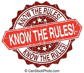 know the rules! red round grunge stamp on white