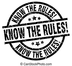 know the rules! round grunge black stamp