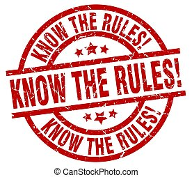 know the rules! round red grunge stamp
