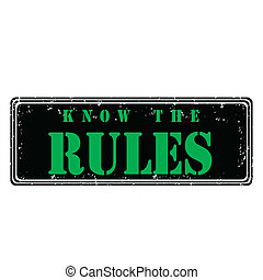 Rubber stamp know the rules, vector illustration