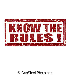Grunge rubber stamp with text Know The Rules, vector illustration