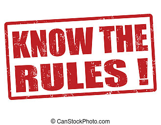 Know the rules red grunge rubber stamp, vector illustration