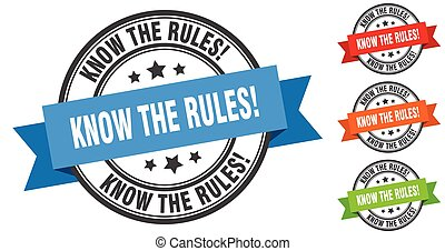 know the rules stamp. round band sign set. label