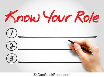Know your Role blank list, business concept background