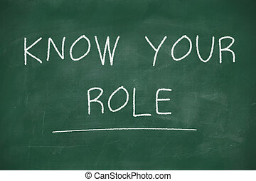 Know your role handwritten on blackboard - Know your role...