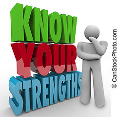 Know Your Strengths words beside a thinking person wondering...