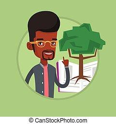 knowledge., árvore, estudante, apontar