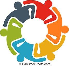 knowledge., 共有, グループ, ビジネス 人々, 人々。, イラスト, チームワーク, ロゴ