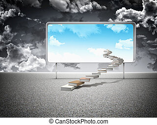 knowledge - 3d books stair and board with blue sky