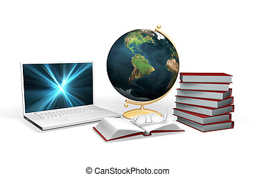 3D rendered conceptual image depicting knowledge and learning