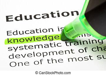'knowledge', aangepunt, in, groene