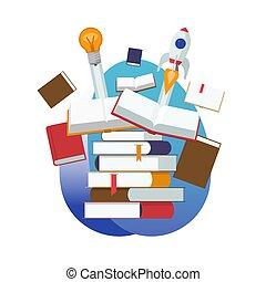 knowledge., appartamento, via, books., idea, illustrazione, educazione, inizio, vettore, disegno, chiuso, nuovo, mucchio, aperto, cultura