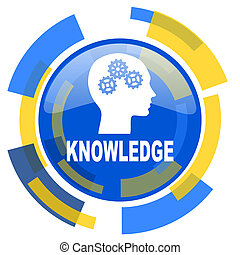knowledge blue yellow glossy web icon