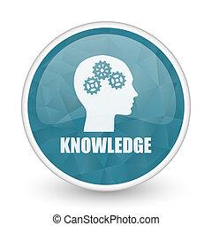 Knowledge brillant crystal design round blue web icon.