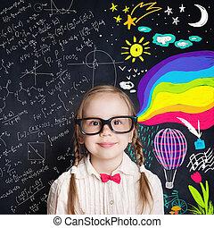 knowledge., concept, curieux, créativité, merveilleux, enfant, mondiale, education, enfance, ouvre, heureux