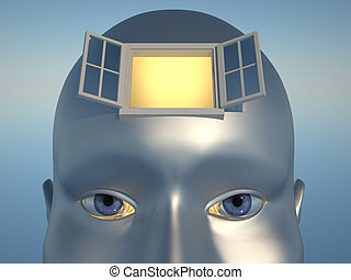 Knowledge concept - Human head with an open window - 3d...