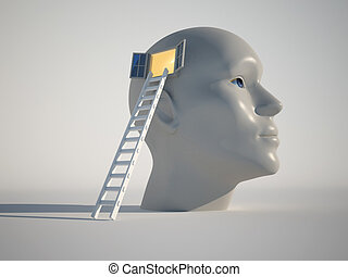 Knowledge concept - Human head with an open window and a ...