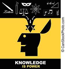 knowledge., connaissance, puissance