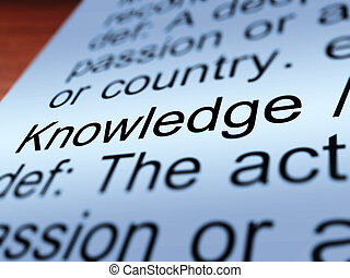 Knowledge Definition Closeup Showing Education - Knowledge...