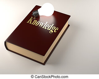 Knowledge - Lit bulb on a book with \'knowledge\' text - 3d...