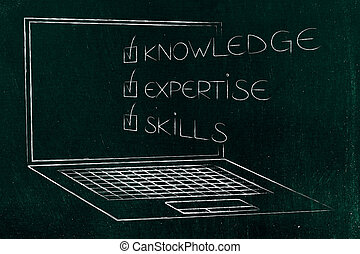knowledge expertise skills ticked off caption popping out of laptop screen