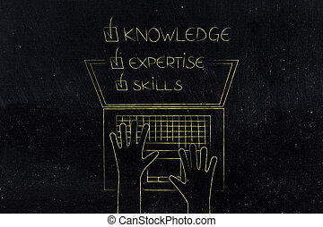 knowledge expertise skills ticked off caption popping out of laptop screen from above