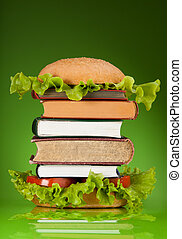 Knowledge fast food concept represented by burger with books...