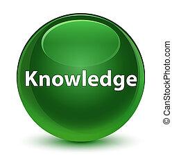 Knowledge glassy soft green round button