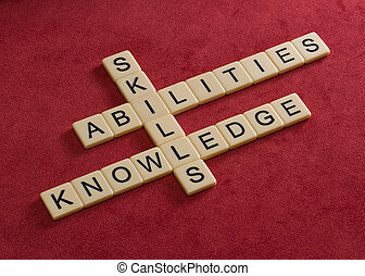 knowledge., habilidades, aprendizaje, rompecabezas, crucigrama, palabras, habilidades, concept.