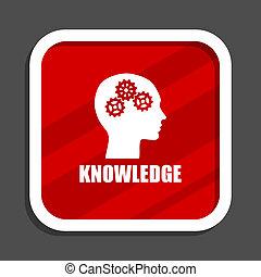 Knowledge icon. Flat design square internet banner.