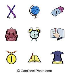 Knowledge icons set, cartoon style