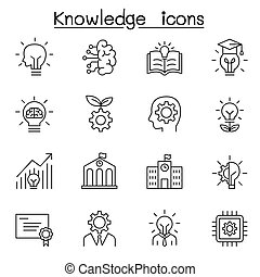 Knowledge icons set in thin line style