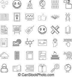 Knowledge icons set, outline style
