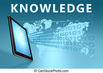 Knowledge illustration with tablet computer on blue...