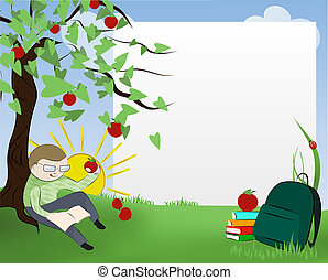 Boy sitting under the tree reading a book and eating apple