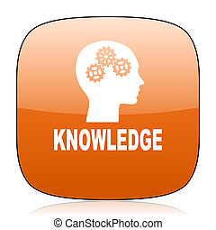 knowledge orange square web design glossy icon