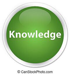 Knowledge premium soft green round button