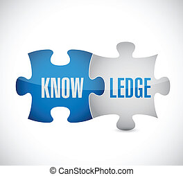 knowledge puzzle pieces illustration design