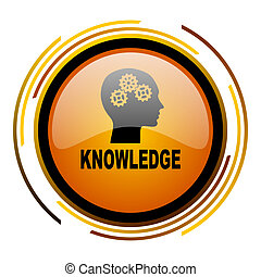 knowledge round design orange glossy web icon