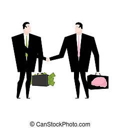 Knowledge sale. Transaction exchange money on idea. Thoughts change for cash. Suitcase with dollars. Keys to brain. Handshake of two businessmen. Business deal