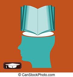 knowledge., symbole, esprit, education., livre, student., nouveau, ouvert, bibliothèque