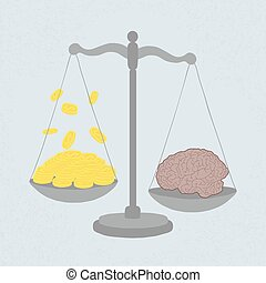 knowledge value in gold coins , eps 10 vector format