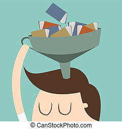 Knowledge - child with many book on head