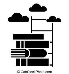 knowledge - way to - books with staircase icon, vector illustration, black sign on isolated background