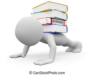 Man doing push-ups with several books on the back. Image of an isolated white character. Rendered on a white background with diffuse shadows.