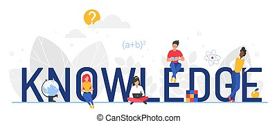 Knowledge word vector illustration, cartoon flat tiny ...