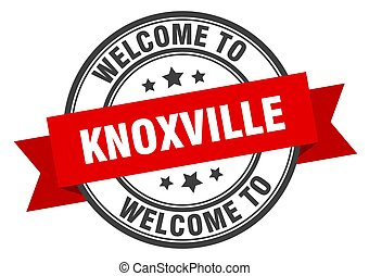 Knoxville stamp. welcome to Knoxville red sign