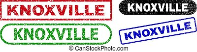 KNOXVILLE grunge seal stamps. Flat vector distress seal stamps with KNOXVILLE caption inside different rectangle and rounded forms, in blue, red, green, black color variants.